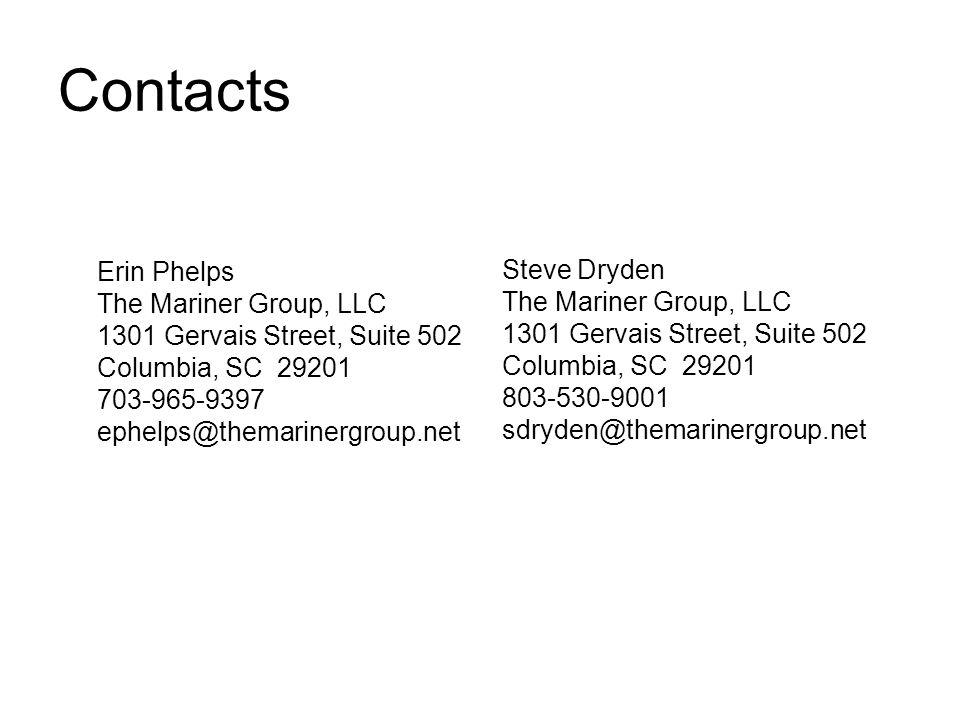 Contacts Steve Dryden The Mariner Group, LLC 1301 Gervais Street, Suite 502 Columbia, SC 29201 803-530-9001 sdryden@themarinergroup.net Erin Phelps The Mariner Group, LLC 1301 Gervais Street, Suite 502 Columbia, SC 29201 703-965-9397 ephelps@themarinergroup.net