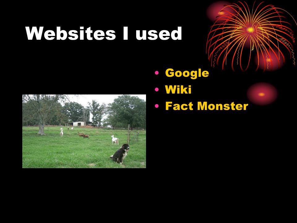 Websites I used Google Wiki Fact Monster