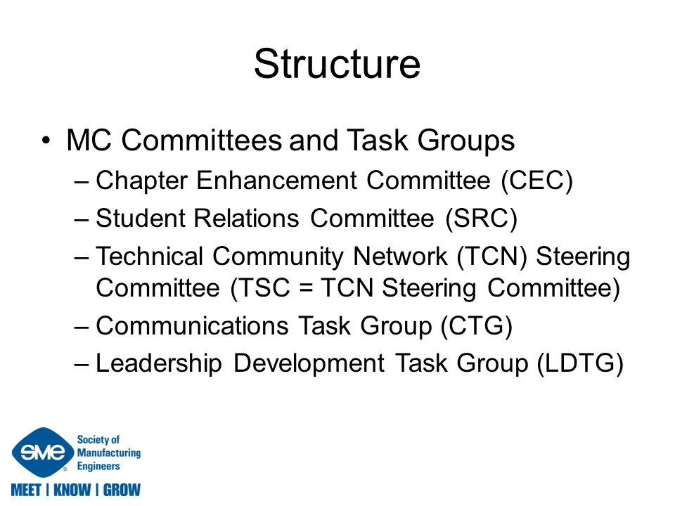 Structure Relationships (2011) Rapid Technologies & Additive Mfg Community Product & Process Design and Mgmt Community Plastics, Composites & Coatings Community Machining & Material Removal Community Forming & Fabricating Community Industrial Laser Community Automated Manufacturing & Assembly Community Manufacturing Education & Research Community Chair: Andy Christensen Chair: William Estrem, PhD Chair: Brock Strunk Chair: David Davidson Chair: Brian Peshek Chair: Tim Morris Chair: Jim Curry Chair: Venkitaswamy Raju, PhD Member Council: Sampson Gholston, PhD Member Council: Ed Halloran, LSME, CMfgE, PE Member Council: Bonnie Knopf Member Council: Tim Bond, CMfgE Member Council: F.