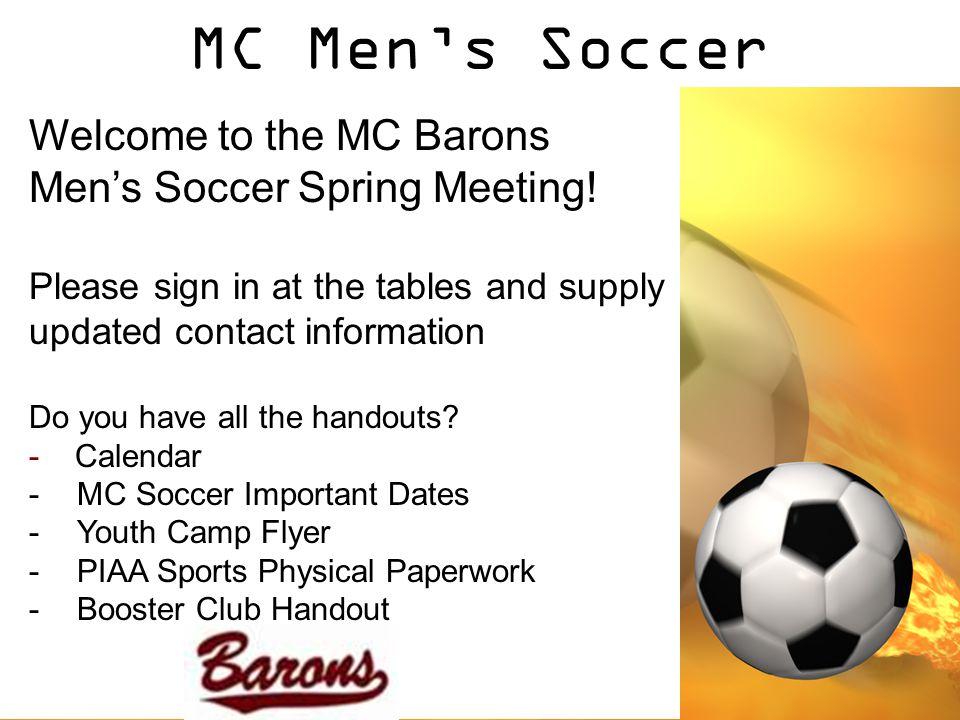 MC Men's Soccer Welcome to the MC Barons Men's Soccer Spring Meeting.