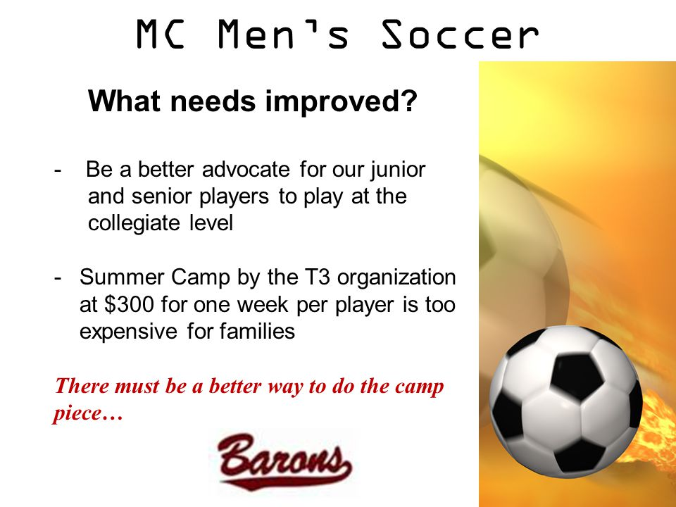 MC Men's Soccer What needs improved.