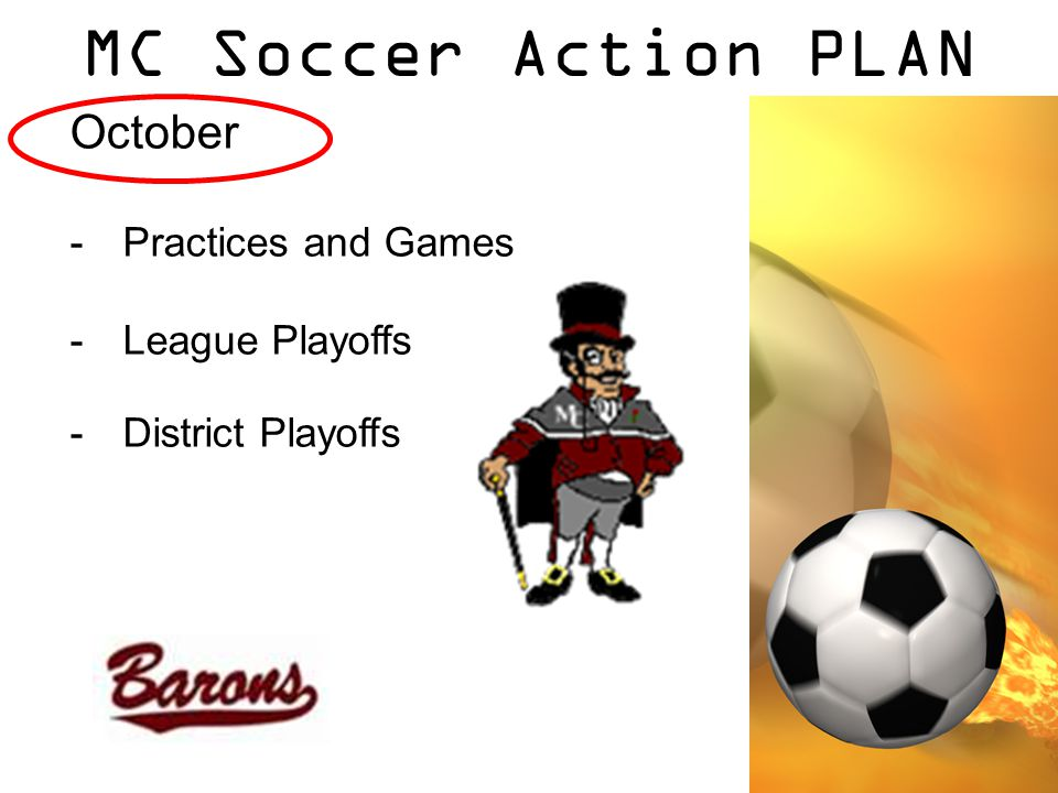 MC Soccer Action PLAN October -Practices and Games -League Playoffs -District Playoffs