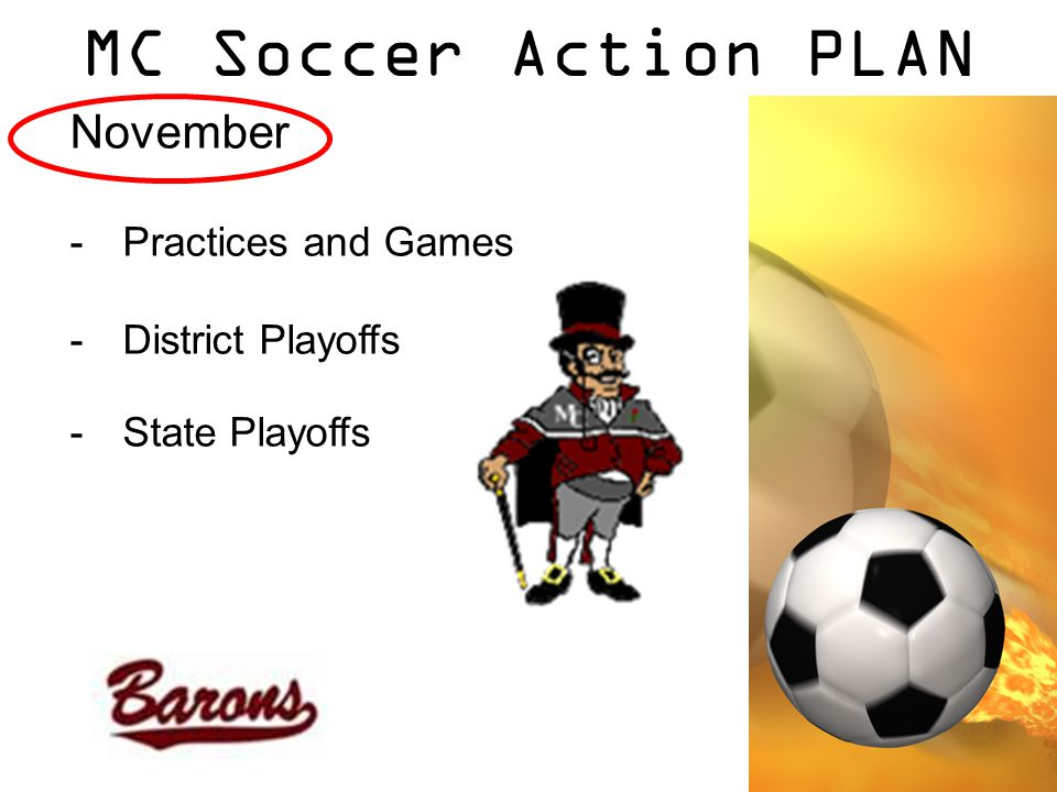 MC Soccer Action PLAN November -Practices and Games -District Playoffs -State Playoffs