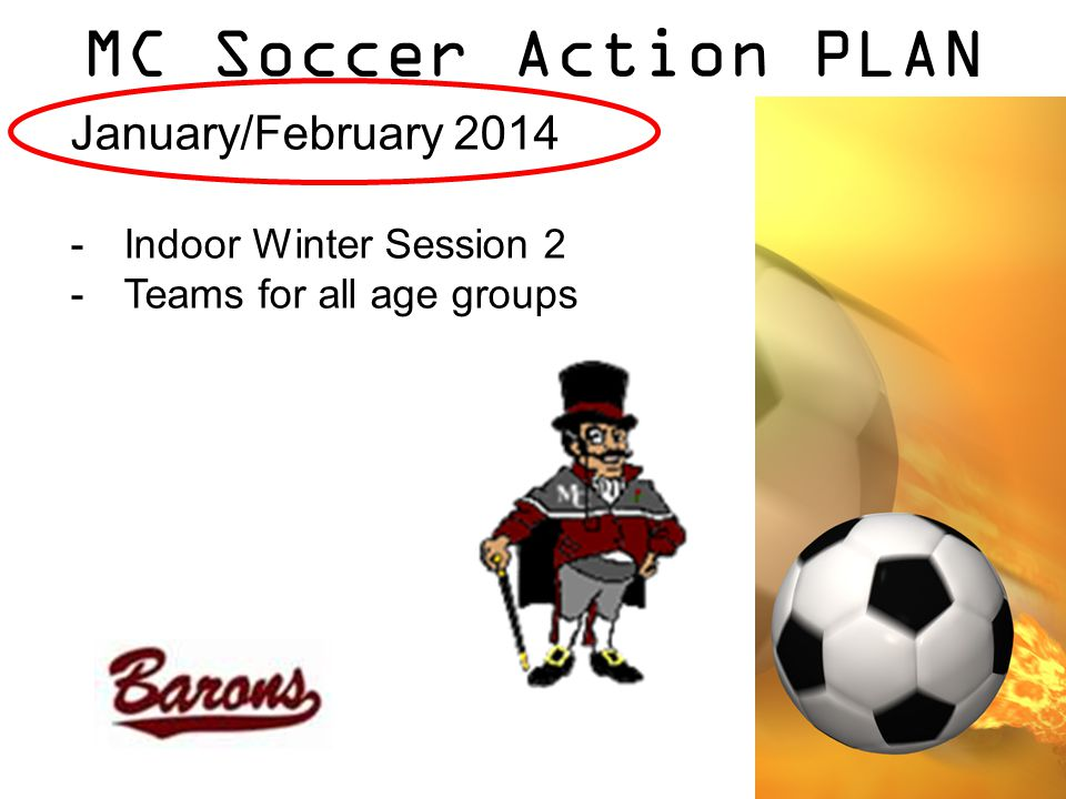 MC Soccer Action PLAN January/February 2014 -Indoor Winter Session 2 -Teams for all age groups