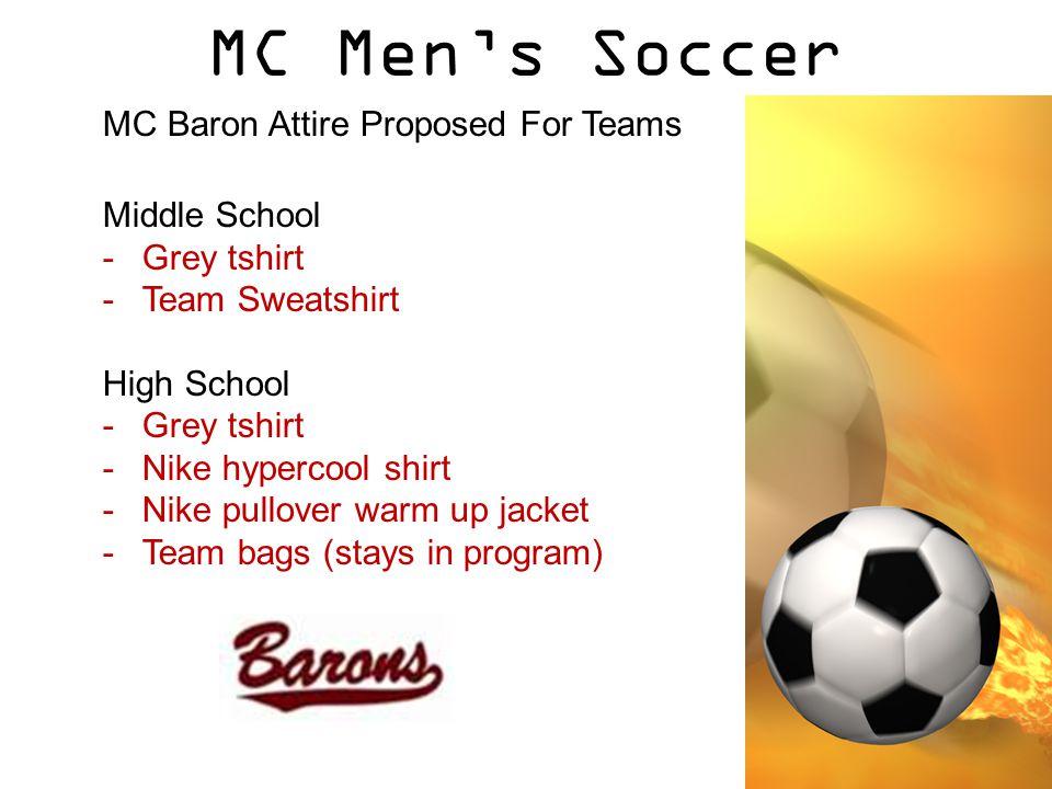 MC Men's Soccer MC Baron Attire Proposed For Teams Middle School -Grey tshirt -Team Sweatshirt High School -Grey tshirt -Nike hypercool shirt -Nike pullover warm up jacket -Team bags (stays in program)