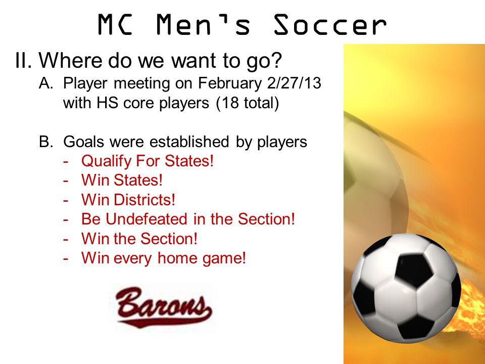 MC Men's Soccer II. Where do we want to go.