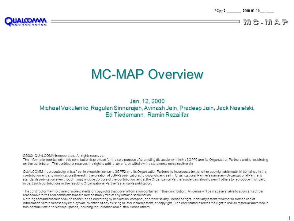 1 MC-MAP Overview Jan.
