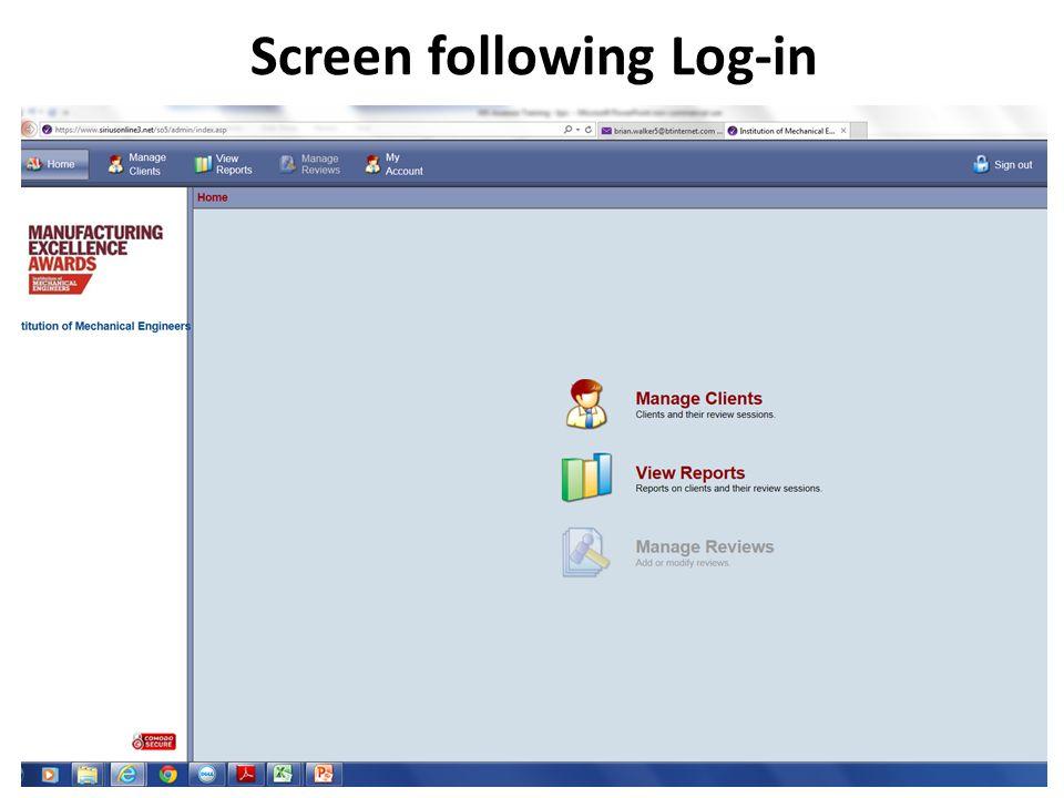Screen following Log-in