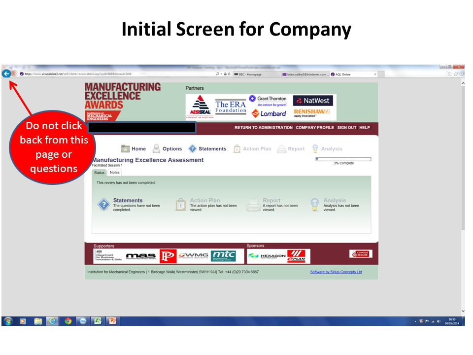Initial Screen for Company Do not click back from this page or questions