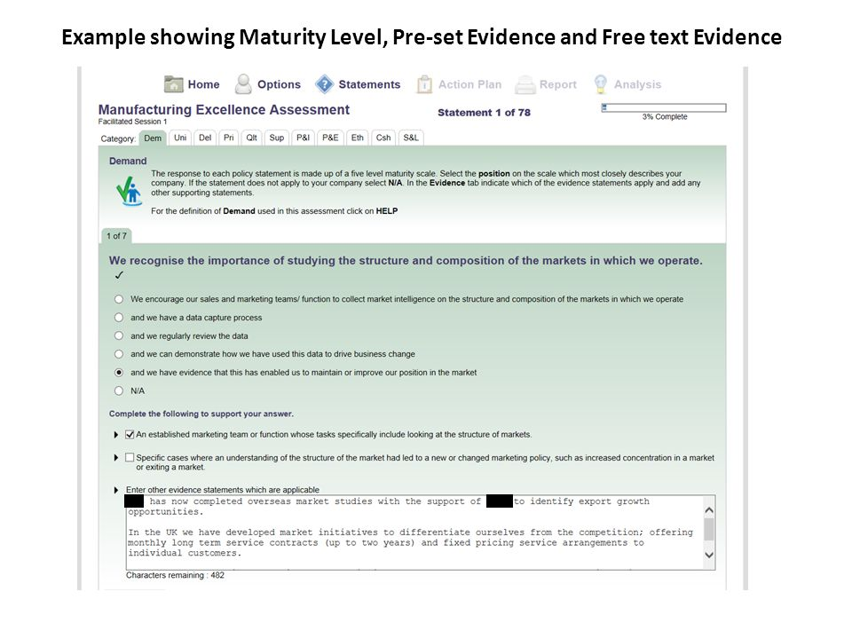 Example showing Maturity Level, Pre-set Evidence and Free text Evidence