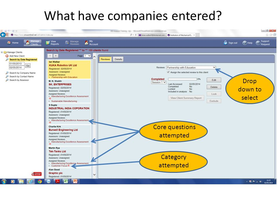 Core questions attempted Category attempted Drop down to select What have companies entered