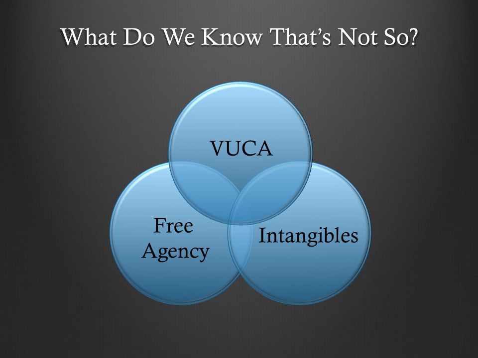 What Do We Know That's Not So? VUCA Intangibles Free Agency
