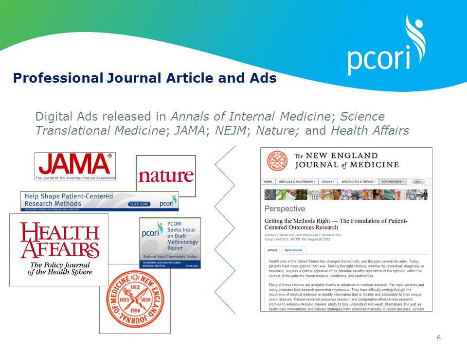 6 Digital Ads released in Annals of Internal Medicine; Science Translational Medicine; JAMA; NEJM; Nature; and Health Affairs Professional Journal Article and Ads