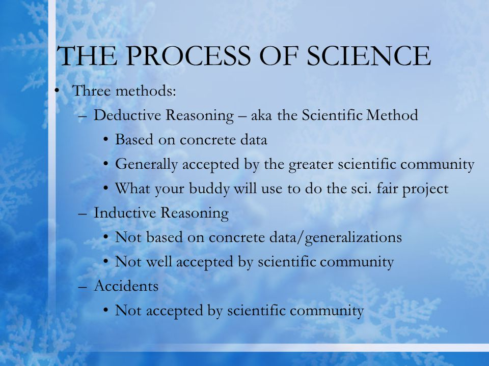 THE SCIENTIFIC METHOD 1.Observe the world around you 2.Ask a question about something that intrigues you –Form a testable question 3.Give a possible answer to that question –This will be your hypothesis 4.Test your hypothesis with an experiment/gather data.