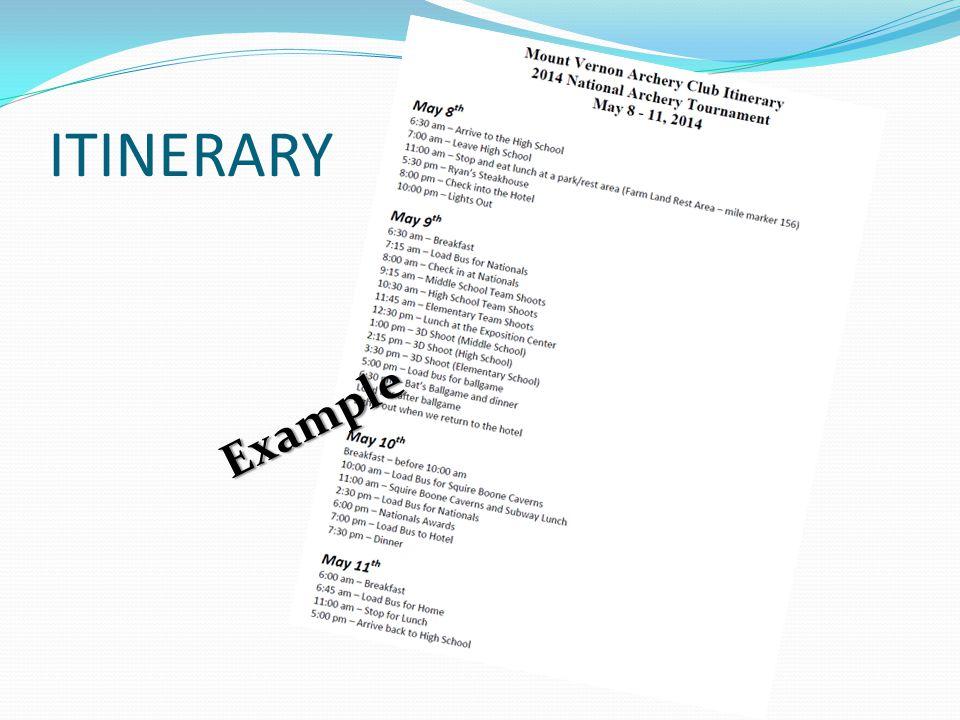ITINERARY Example