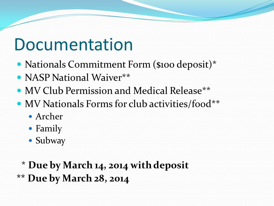 Documentation Nationals Commitment Form ($100 deposit)* NASP National Waiver** MV Club Permission and Medical Release** MV Nationals Forms for club ac