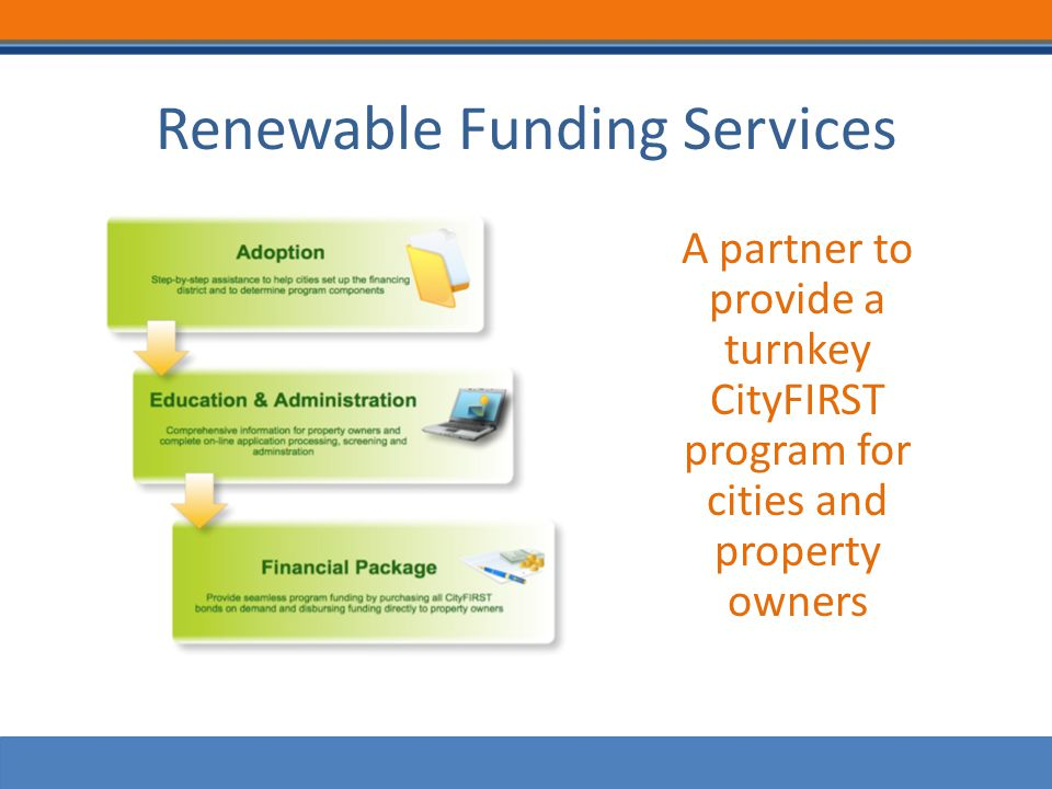 Renewable Funding Services A partner to provide a turnkey CityFIRST program for cities and property owners