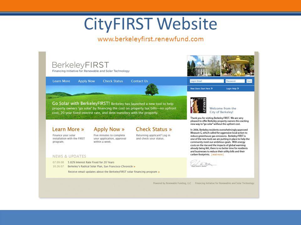 CityFIRST Website www.berkeleyfirst.renewfund.com