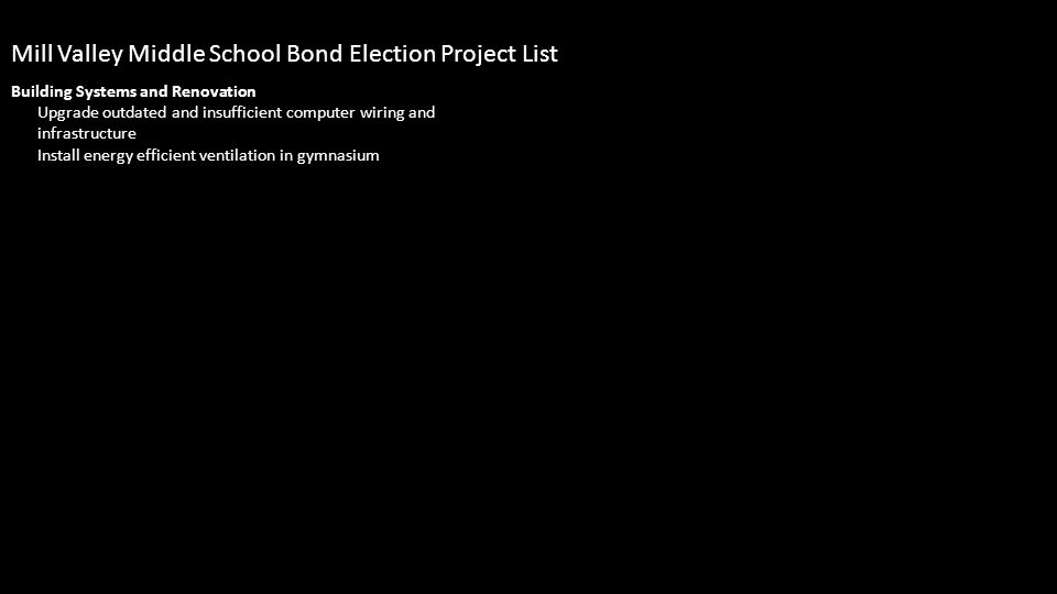 Building Systems and Renovation Upgrade outdated and insufficient computer wiring and infrastructure Install energy efficient ventilation in gymnasium Mill Valley Middle School Bond Election Project List