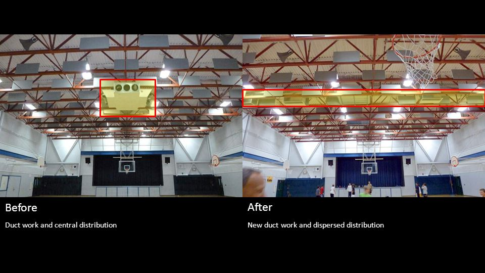 New duct work and dispersed distribution Before After Duct work and central distribution