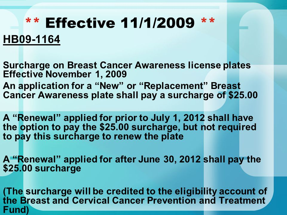 """** Effective 11/1/2009 ** HB09-1164 Surcharge on Breast Cancer Awareness license plates Effective November 1, 2009 An application for a """"New"""" or """"Repl"""