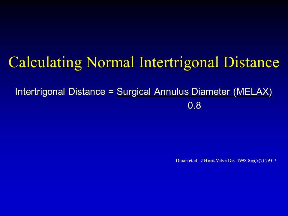 Calculating Normal Intertrigonal Distance Intertrigonal Distance = Surgical Annulus Diameter (MELAX) 0.8 Duran et al: J Heart Valve Dis.