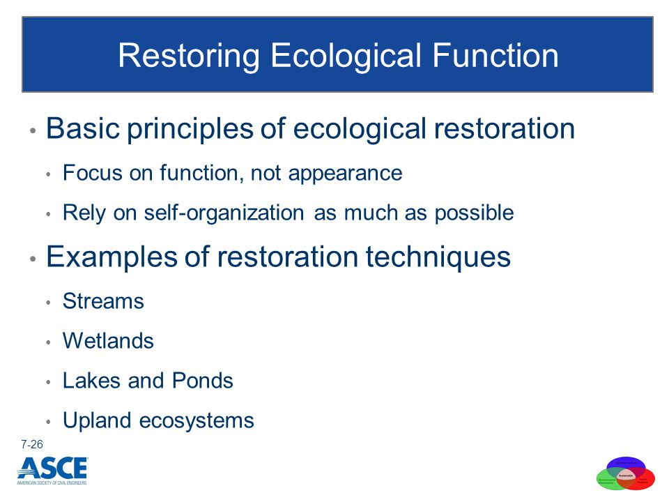 Basic principles of ecological restoration Focus on function, not appearance Rely on self-organization as much as possible Examples of restoration techniques Streams Wetlands Lakes and Ponds Upland ecosystems Restoring Ecological Function 7-26