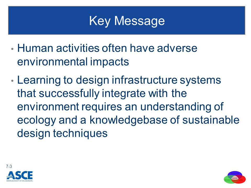 Human activities often have adverse environmental impacts Learning to design infrastructure systems that successfully integrate with the environment r