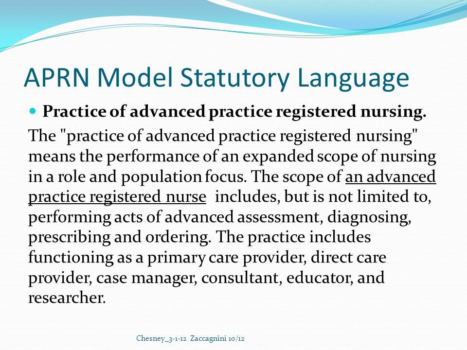 APRN Model Statutory Language Practice of advanced practice registered nursing.