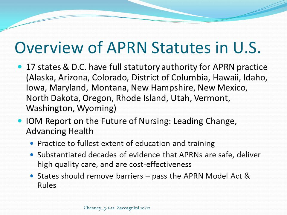 Overview of APRN Statutes in U.S. 17 states & D.C.