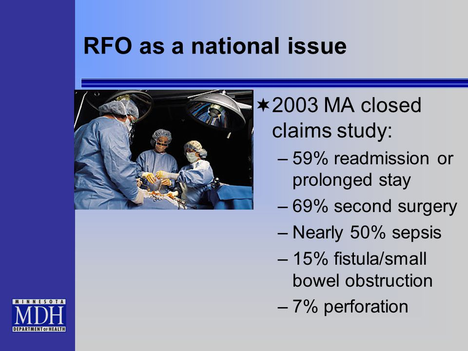 RFO as a national issue  2003 MA closed claims study: –59% readmission or prolonged stay –69% second surgery –Nearly 50% sepsis –15% fistula/small bo