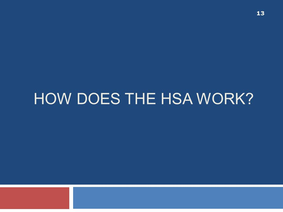 HOW DOES THE HSA WORK? 13