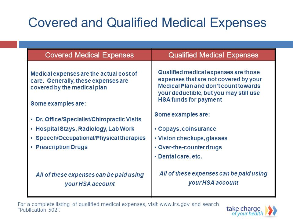 Covered and Qualified Medical Expenses Covered Medical ExpensesQualified Medical Expenses Medical expenses are the actual cost of care.