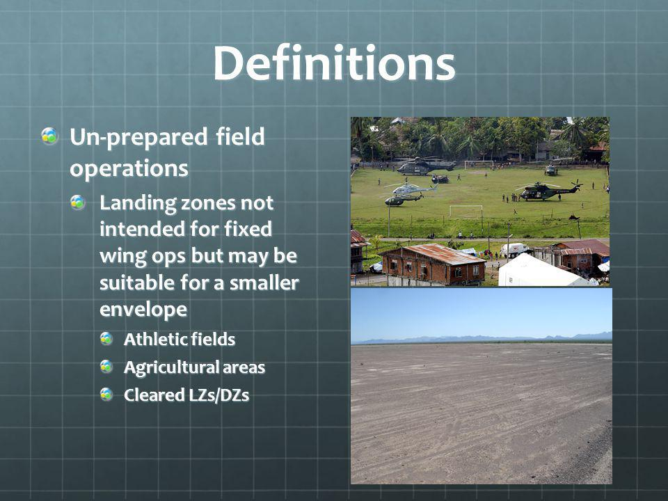 Definitions Un-prepared field operations Landing zones not intended for fixed wing ops but may be suitable for a smaller envelope Athletic fields Agricultural areas Cleared LZs/DZs
