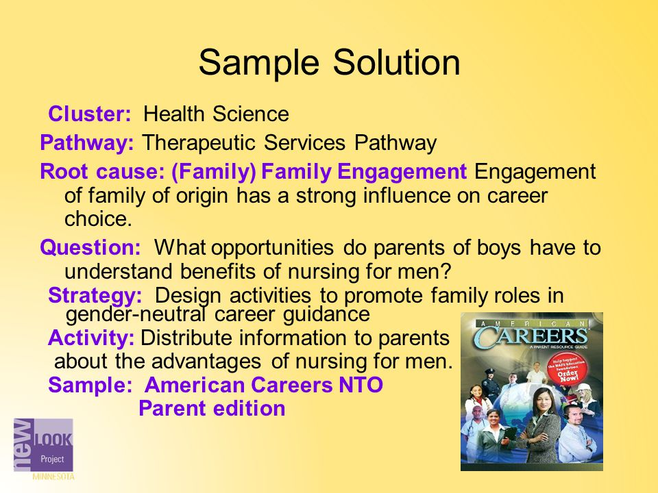 Sample Solution Cluster: Health Science Pathway: Therapeutic Services Pathway Root cause: (Family) Family Engagement Engagement of family of origin ha