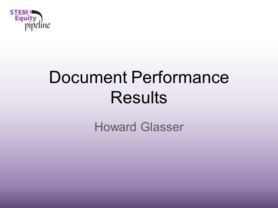 Document Performance Results Howard Glasser