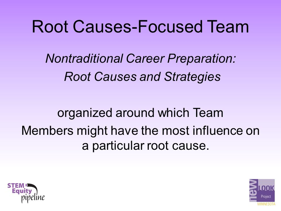 Root Causes-Focused Team Nontraditional Career Preparation: Root Causes and Strategies organized around which Team Members might have the most influen