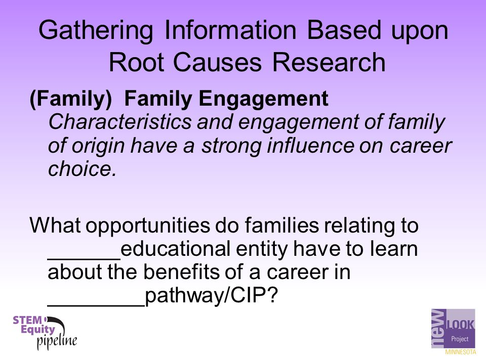 Gathering Information Based upon Root Causes Research (Family) Family Engagement Characteristics and engagement of family of origin have a strong infl