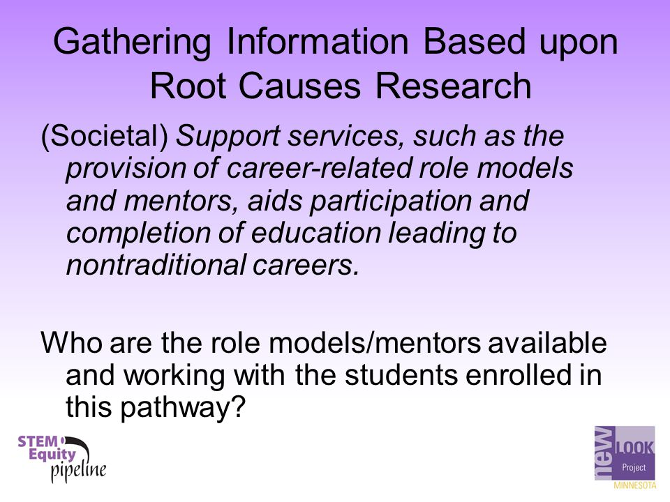 Gathering Information Based upon Root Causes Research (Societal) Support services, such as the provision of career-related role models and mentors, ai