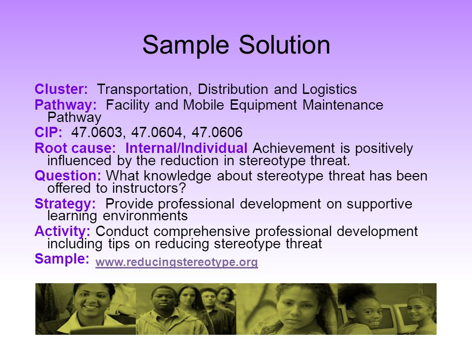 Sample Solution Cluster: Transportation, Distribution and Logistics Pathway: Facility and Mobile Equipment Maintenance Pathway CIP: 47.0603, 47.0604,