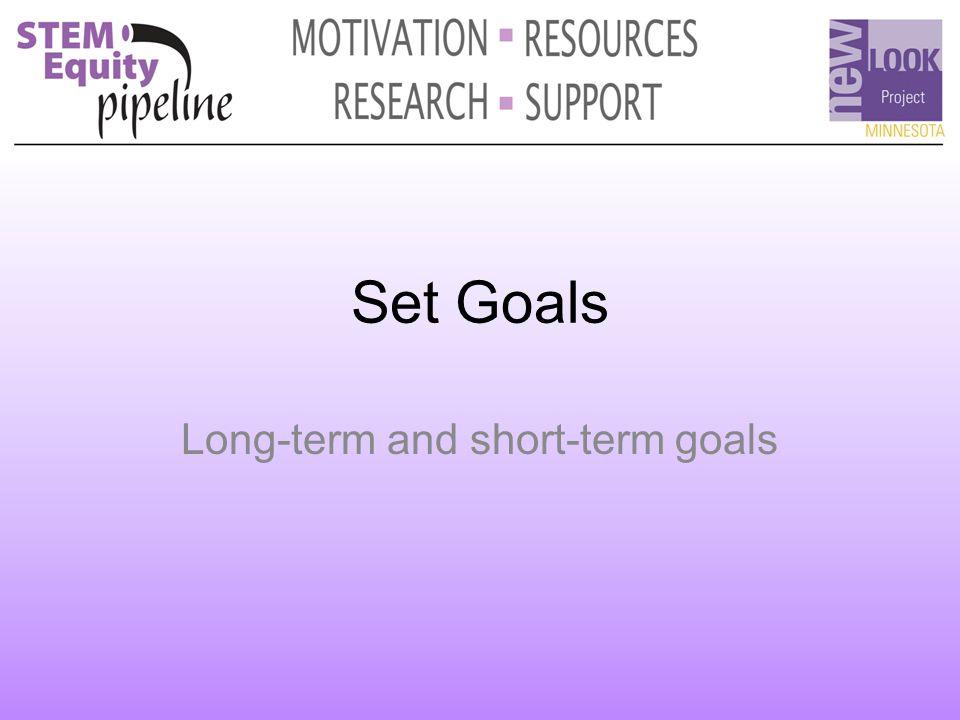 Set Goals Long-term and short-term goals