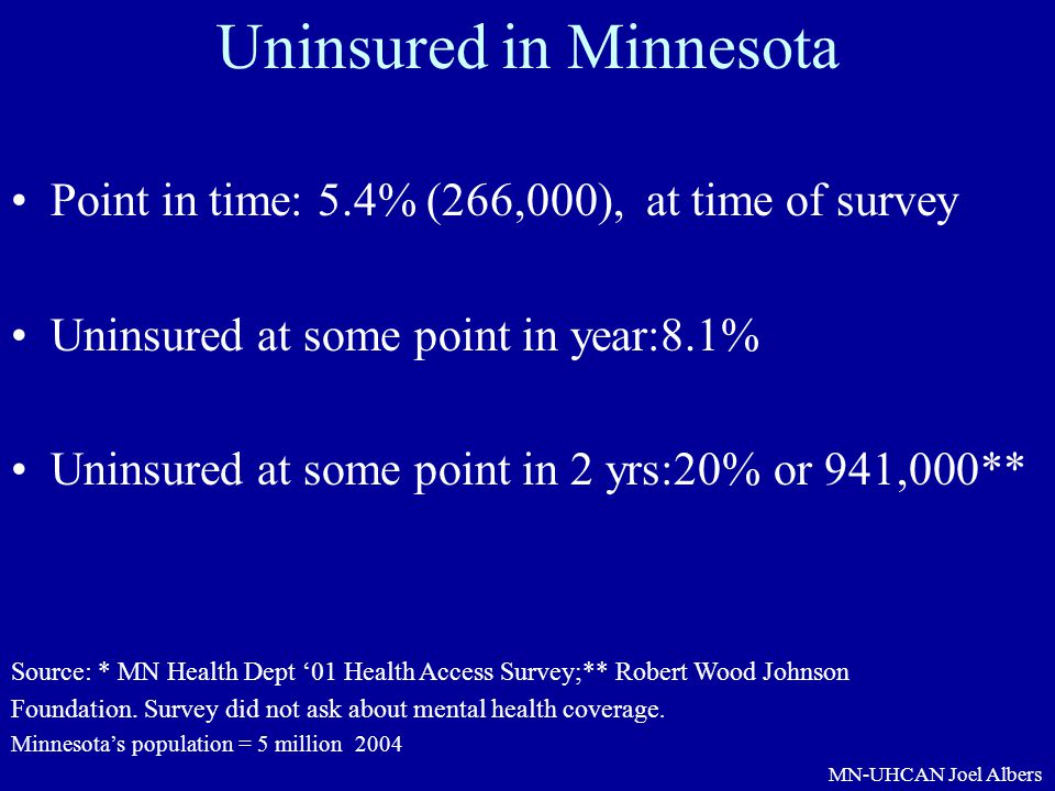 MN-UHCAN Joel Albers Uninsured in Minnesota Point in time: 5.4% (266,000), at time of survey Uninsured at some point in year:8.1% Uninsured at some po