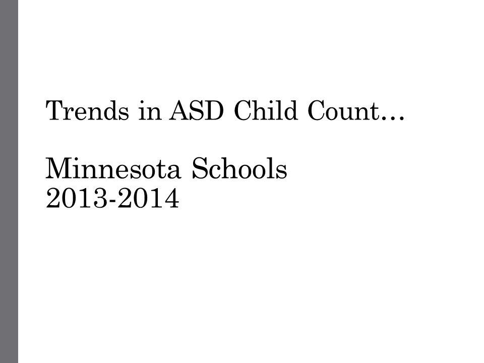 Trends in ASD Child Count… Minnesota Schools 2013-2014