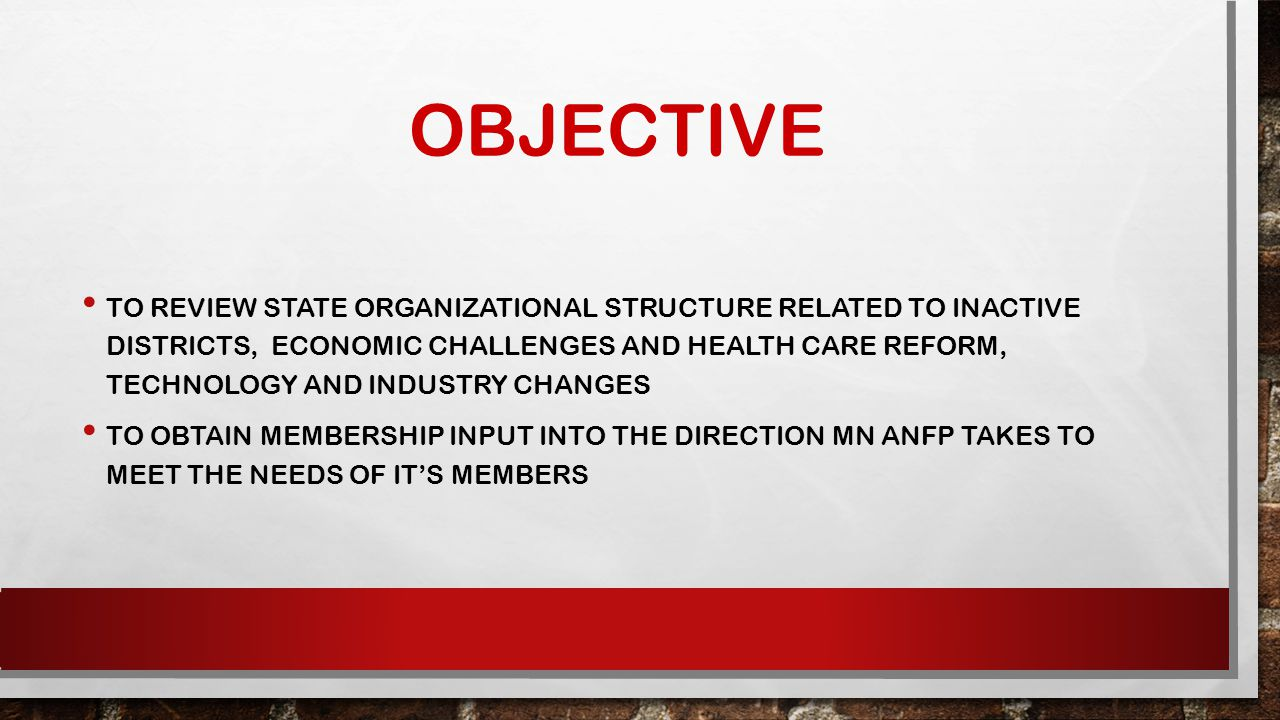 OBJECTIVE TO REVIEW STATE ORGANIZATIONAL STRUCTURE RELATED TO INACTIVE DISTRICTS, ECONOMIC CHALLENGES AND HEALTH CARE REFORM, TECHNOLOGY AND INDUSTRY CHANGES TO OBTAIN MEMBERSHIP INPUT INTO THE DIRECTION MN ANFP TAKES TO MEET THE NEEDS OF IT'S MEMBERS