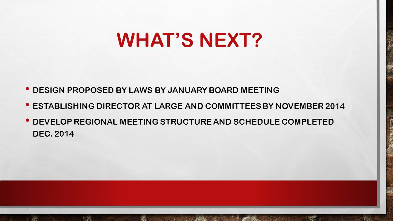 WHAT'S NEXT? DESIGN PROPOSED BY LAWS BY JANUARY BOARD MEETING ESTABLISHING DIRECTOR AT LARGE AND COMMITTEES BY NOVEMBER 2014 DEVELOP REGIONAL MEETING