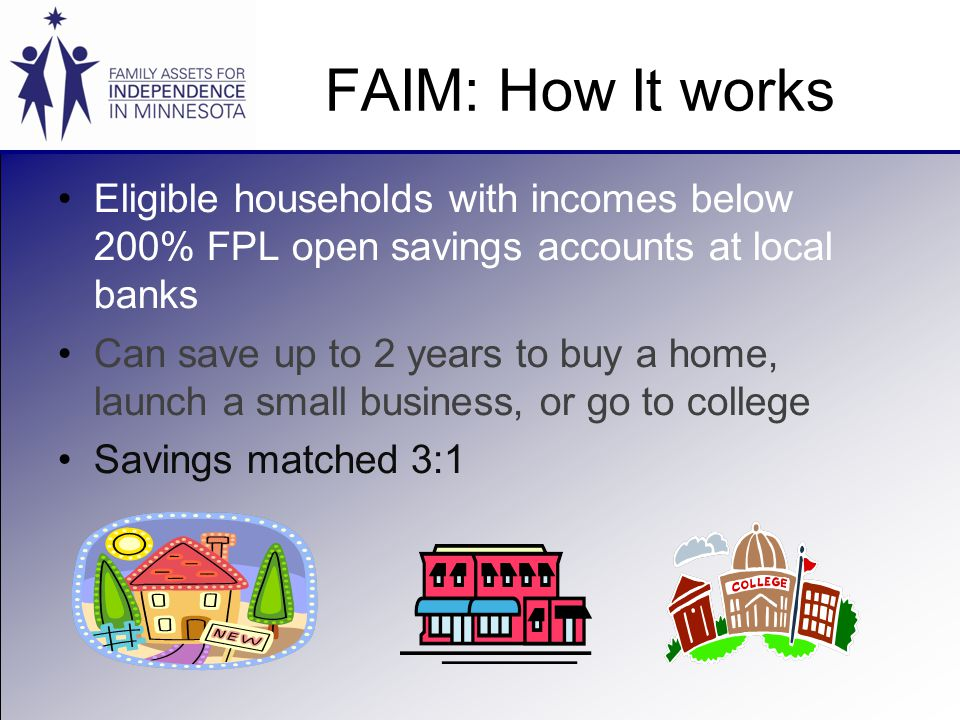 FAIM: How It works Eligible households with incomes below 200% FPL open savings accounts at local banks Can save up to 2 years to buy a home, launch a small business, or go to college Savings matched 3:1