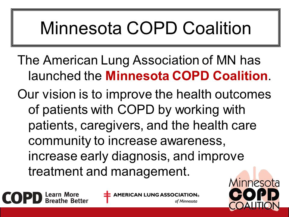 Minnesota COPD Coalition The American Lung Association of MN has launched the Minnesota COPD Coalition. Our vision is to improve the health outcomes o