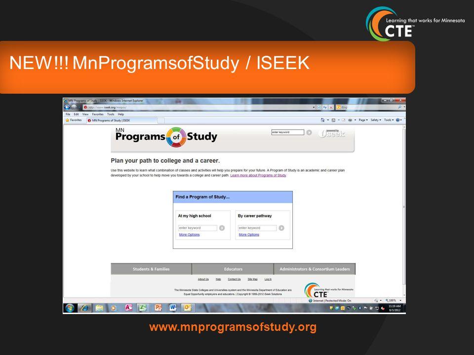 NEW!!! MnProgramsofStudy / ISEEK www.mnprogramsofstudy.org