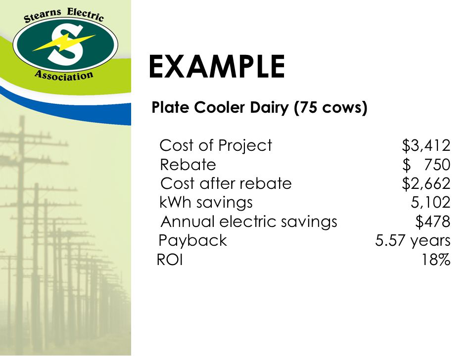 EXAMPLE Plate Cooler Dairy (75 cows) Cost of Project $3,412 Rebate $ 750 Cost after rebate $2,662 kWh savings 5,102 Annual electric savings $478 Payback 5.57 years ROI 18%