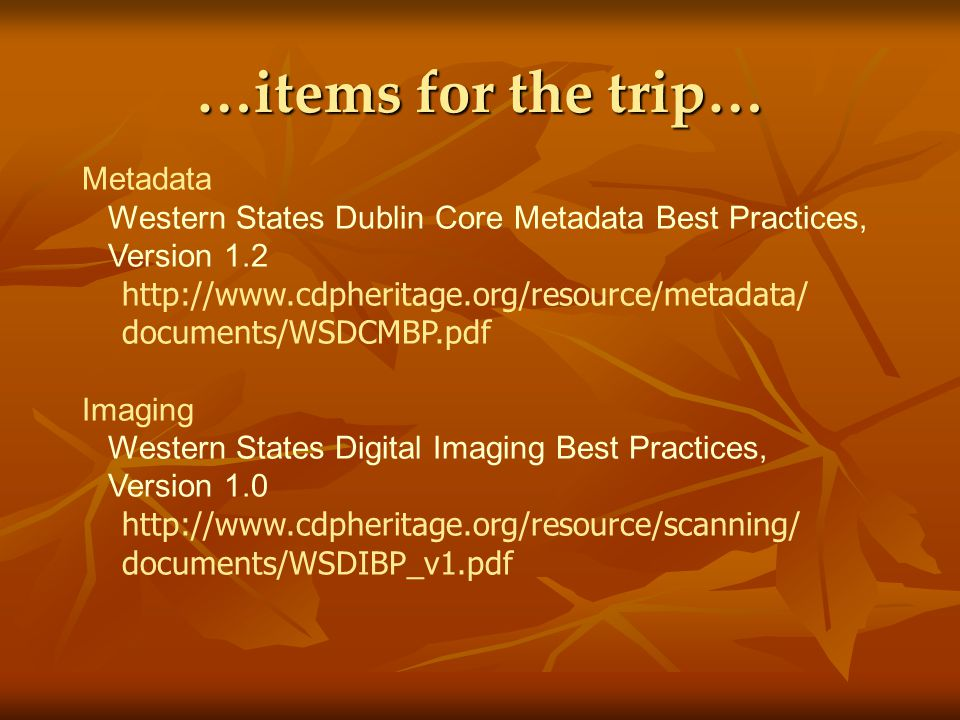 …items for the trip… Metadata Western States Dublin Core Metadata Best Practices, Version 1.2 http://www.cdpheritage.org/resource/metadata/ documents/WSDCMBP.pdf Imaging Western States Digital Imaging Best Practices, Version 1.0 http://www.cdpheritage.org/resource/scanning/ documents/WSDIBP_v1.pdf